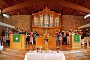 choir and congregation singing together